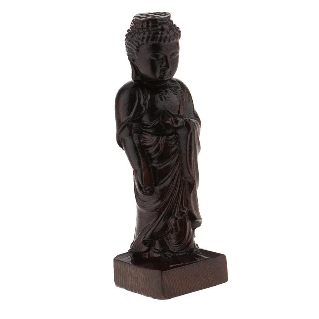 miniatura 16 - Statuetta buddista in legno Figurina India Buddha Head Statue Craft Ornament