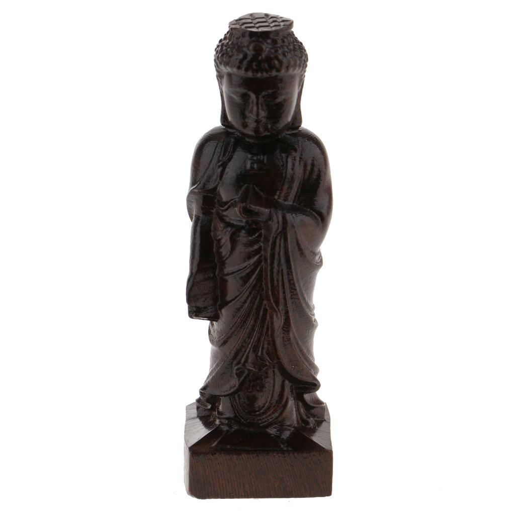 miniatura 15 - Statuetta buddista in legno Figurina India Buddha Head Statue Craft Ornament