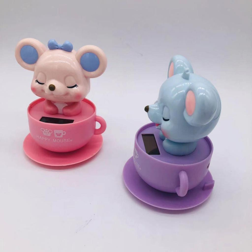 Solar Powered Dancing Toy Animal New Year Rat//Mice Ornaments C ar Decorations