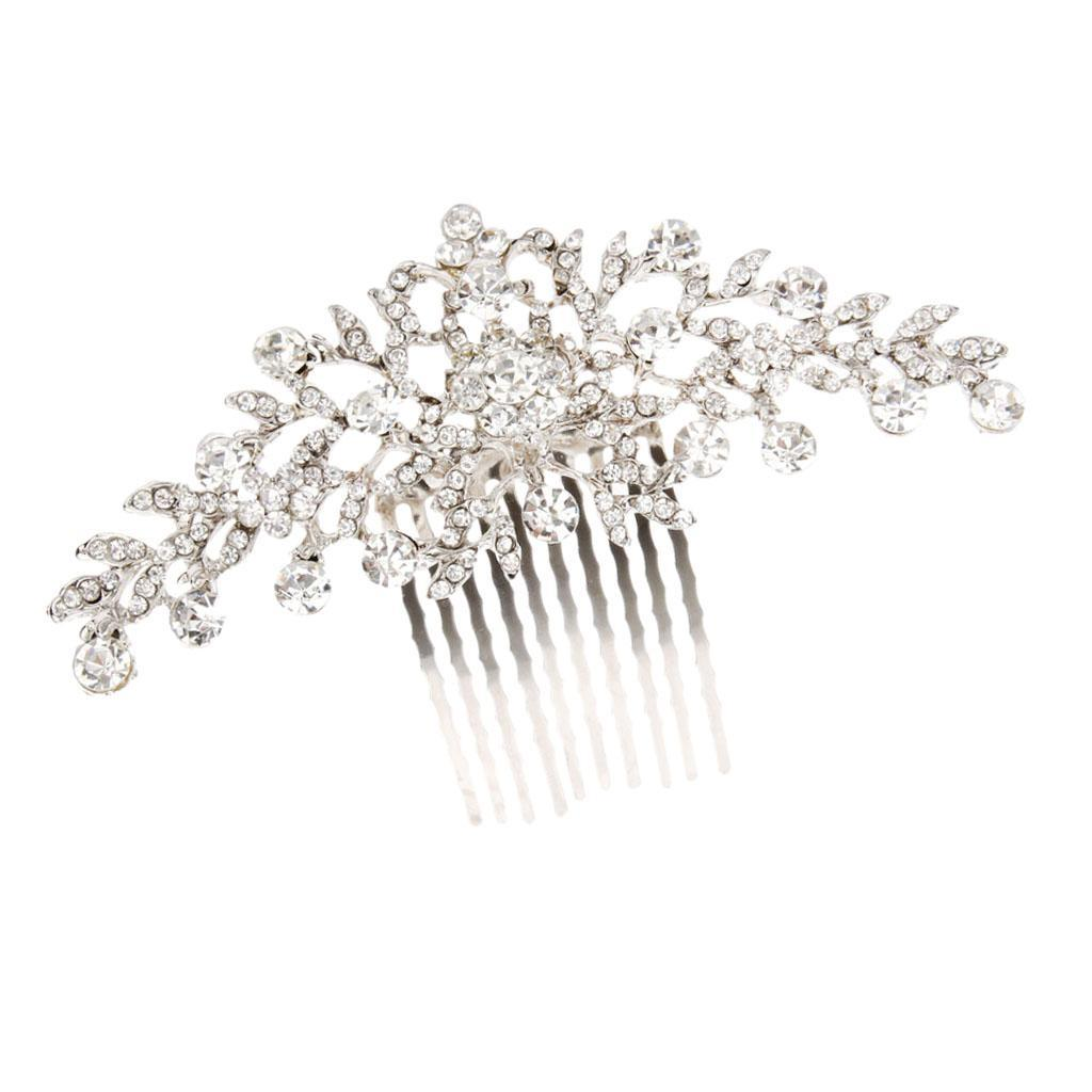 Wedding-Party-Flower-Crystal-Rhinestone-Bridal-Hair-Comb-Clip-Hair-Accessory thumbnail 4