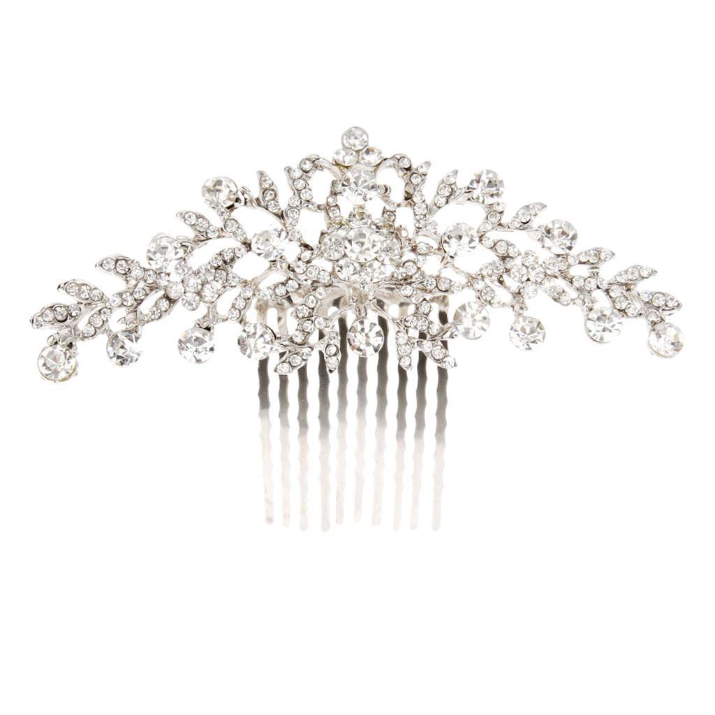 Wedding-Party-Flower-Crystal-Rhinestone-Bridal-Hair-Comb-Clip-Hair-Accessory thumbnail 5