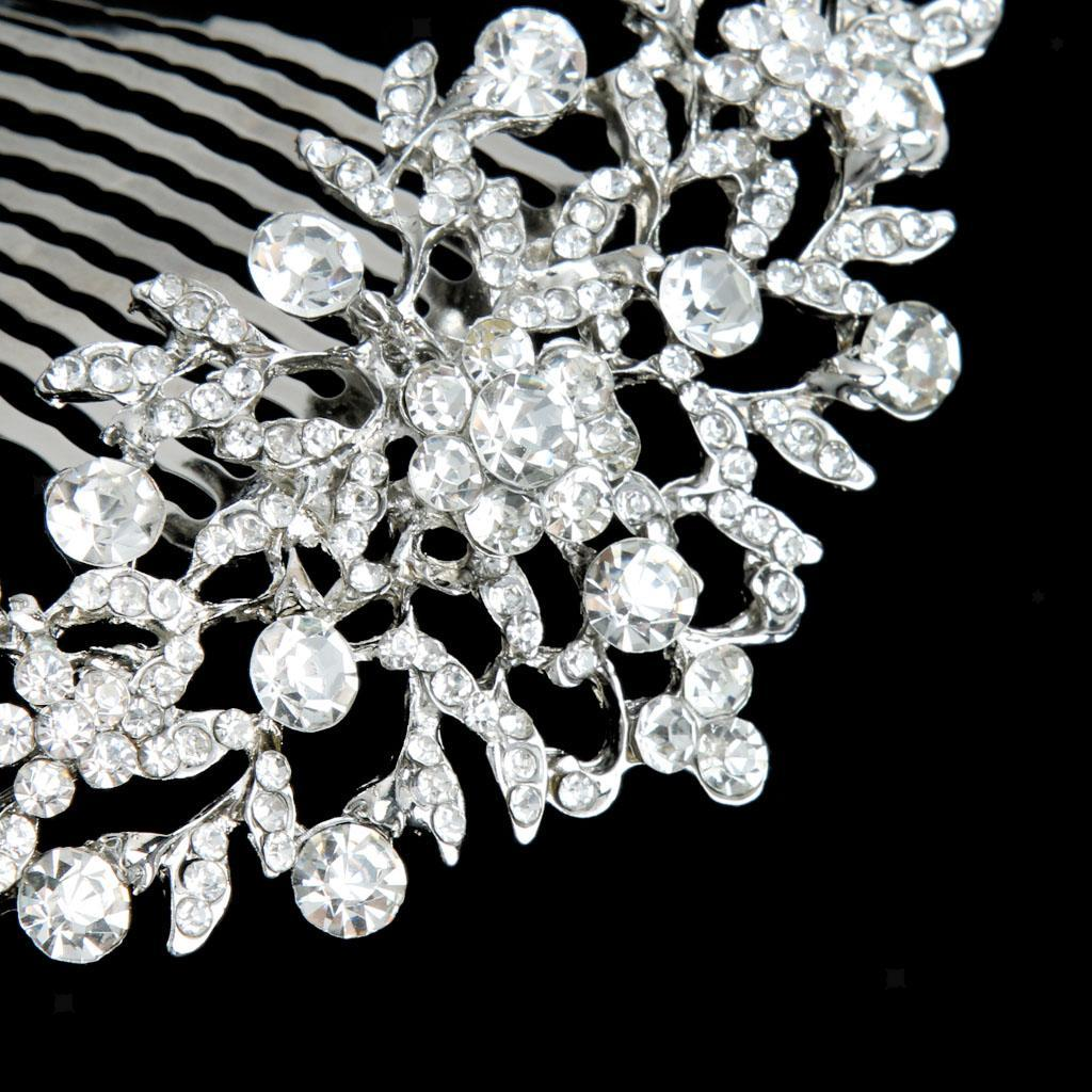 Wedding-Party-Flower-Crystal-Rhinestone-Bridal-Hair-Comb-Clip-Hair-Accessory thumbnail 3
