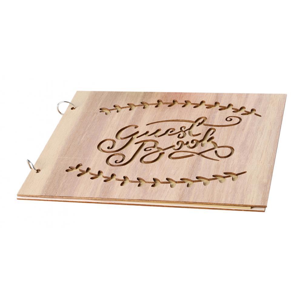 miniatura 3 - Bacheca del libro degli ospiti vuota con copertina in legno di fidanzamento