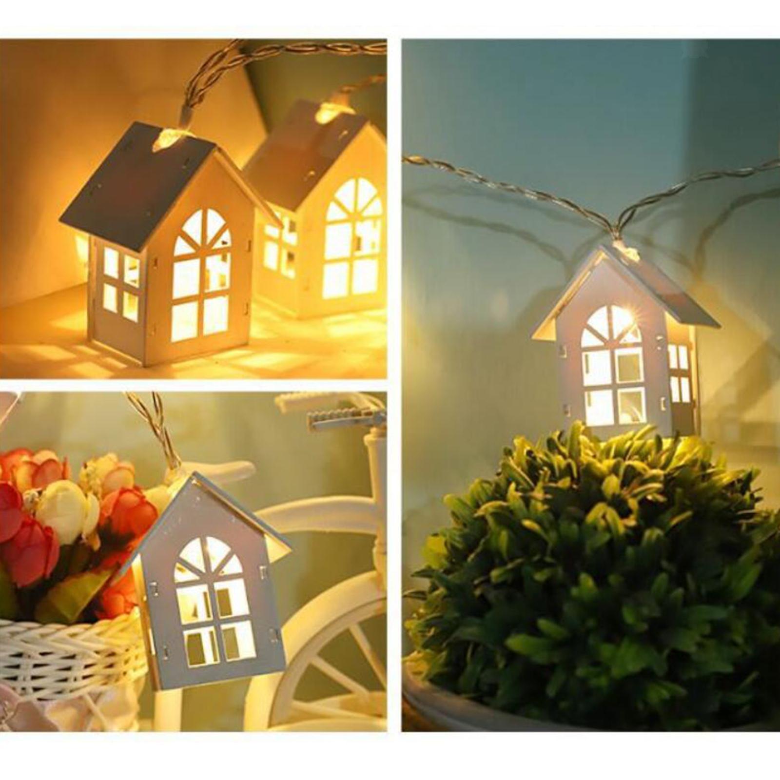 miniature 15 - 10 LED Rideau Guirlandes 6.6ft Fée Lumière de Corde De Noël Toile de Fond Dé