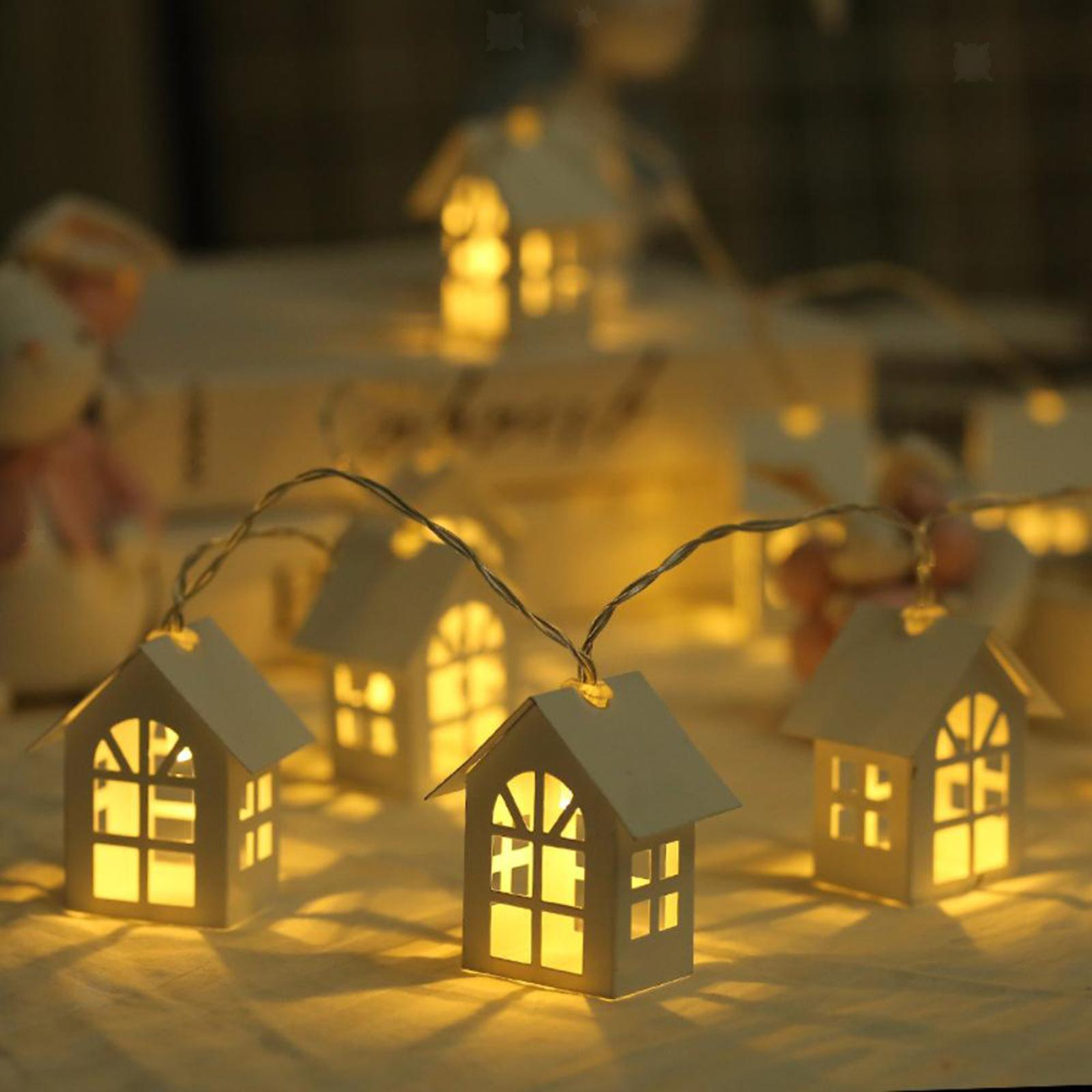 miniature 21 - 10 LED Rideau Guirlandes 6.6ft Fée Lumière de Corde De Noël Toile de Fond Dé