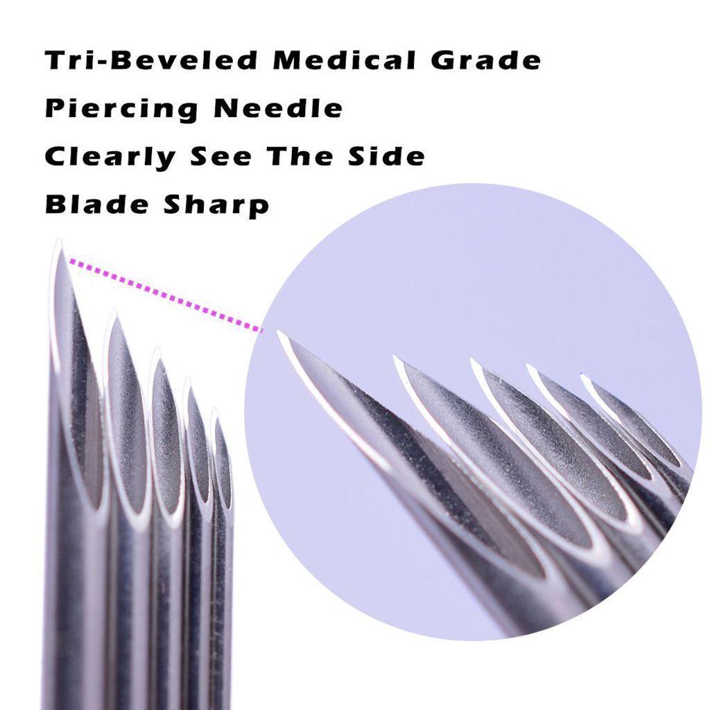 miniatura 15 - Aghi-piercing-sterilizzati-100piece-per-il-naso-dell-039-ombelico-del-corpo