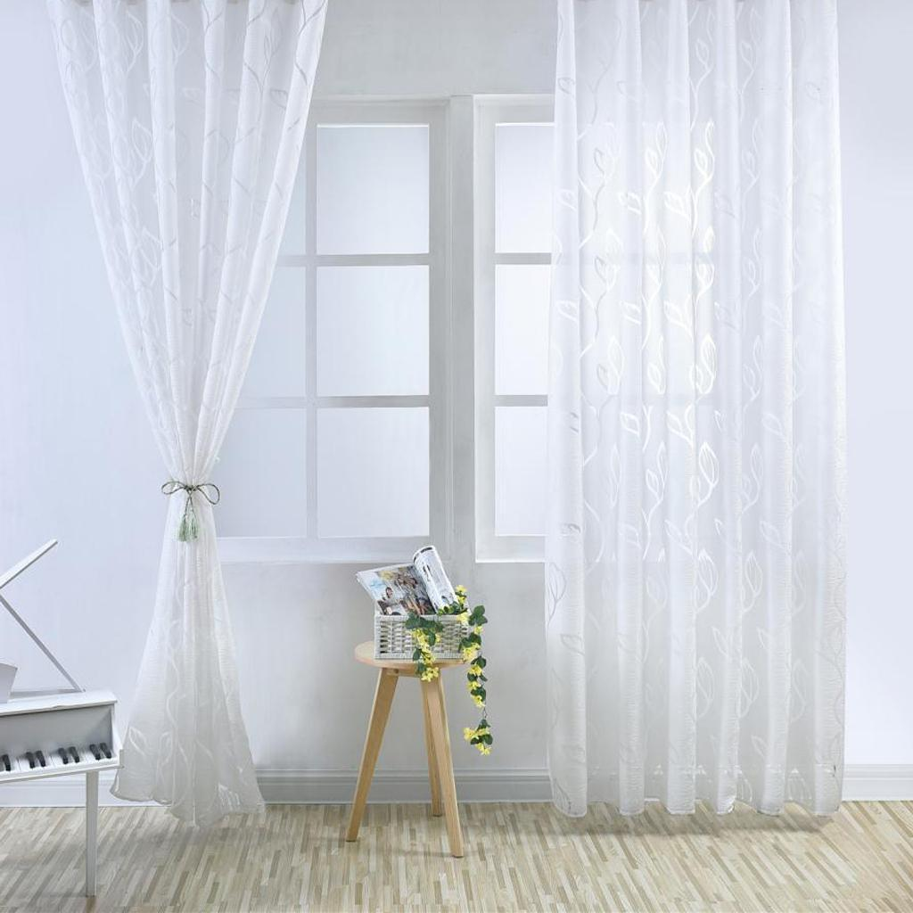 Bubble Leaf Pattern Window Curtain Drape Gauze Sheer Curtain Door Room Divider Ebay