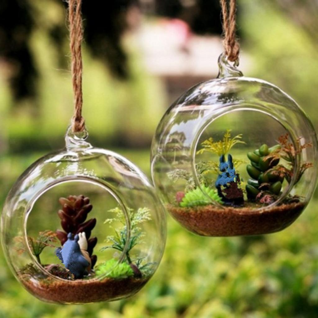 Various-Hanging-Glass-Ball-Tea-Light-Candle-Holder-Flowerpot-with-Iron-Stand thumbnail 32