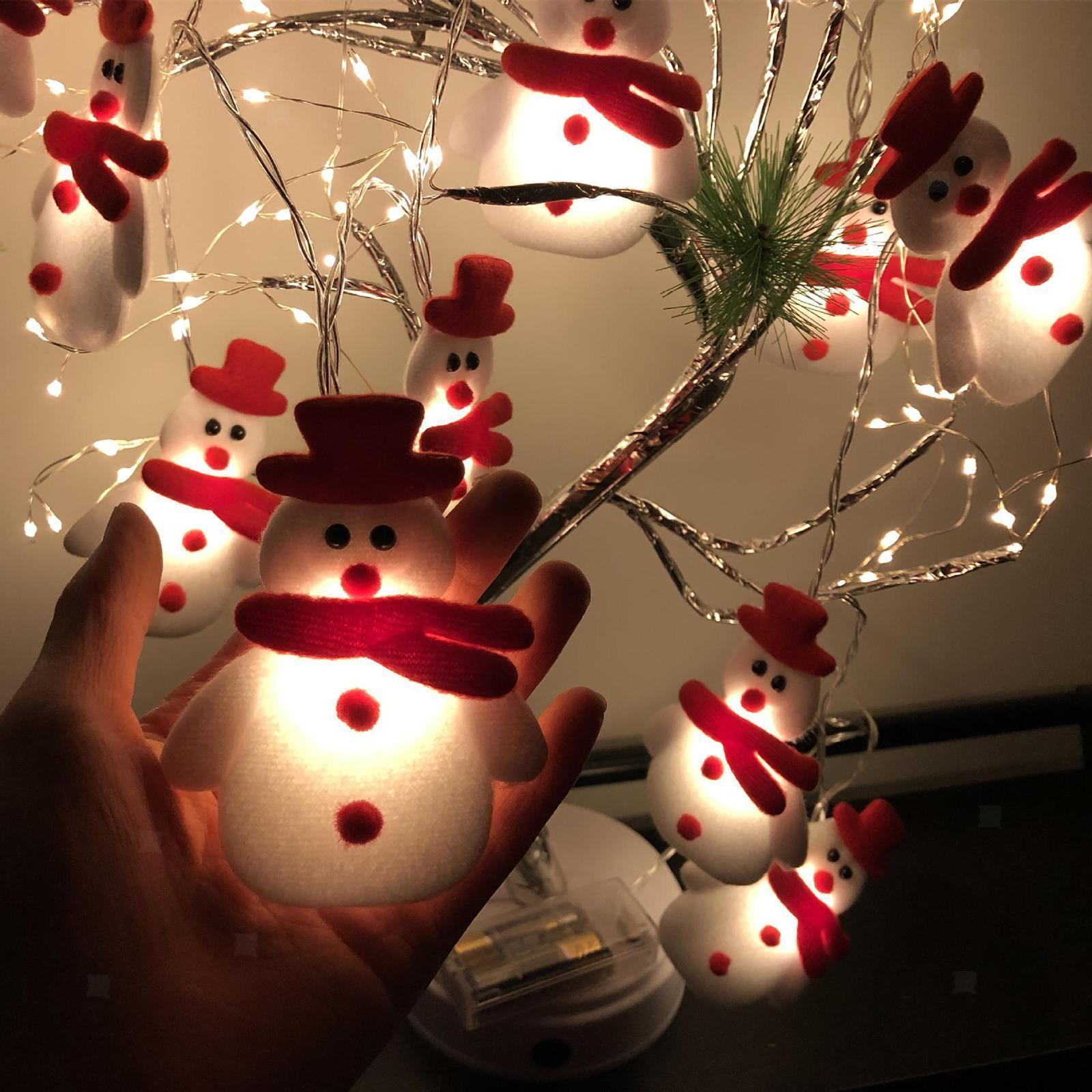 miniature 17 - LED Cordes Guirlandes De Noël Bonhomme De Neige Lumières Décors pour Salon En