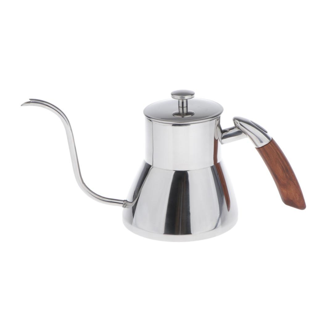 800ml Stainless Steel Long Spout Gooseneck Spout Drip Coffee Pot Silver,Black