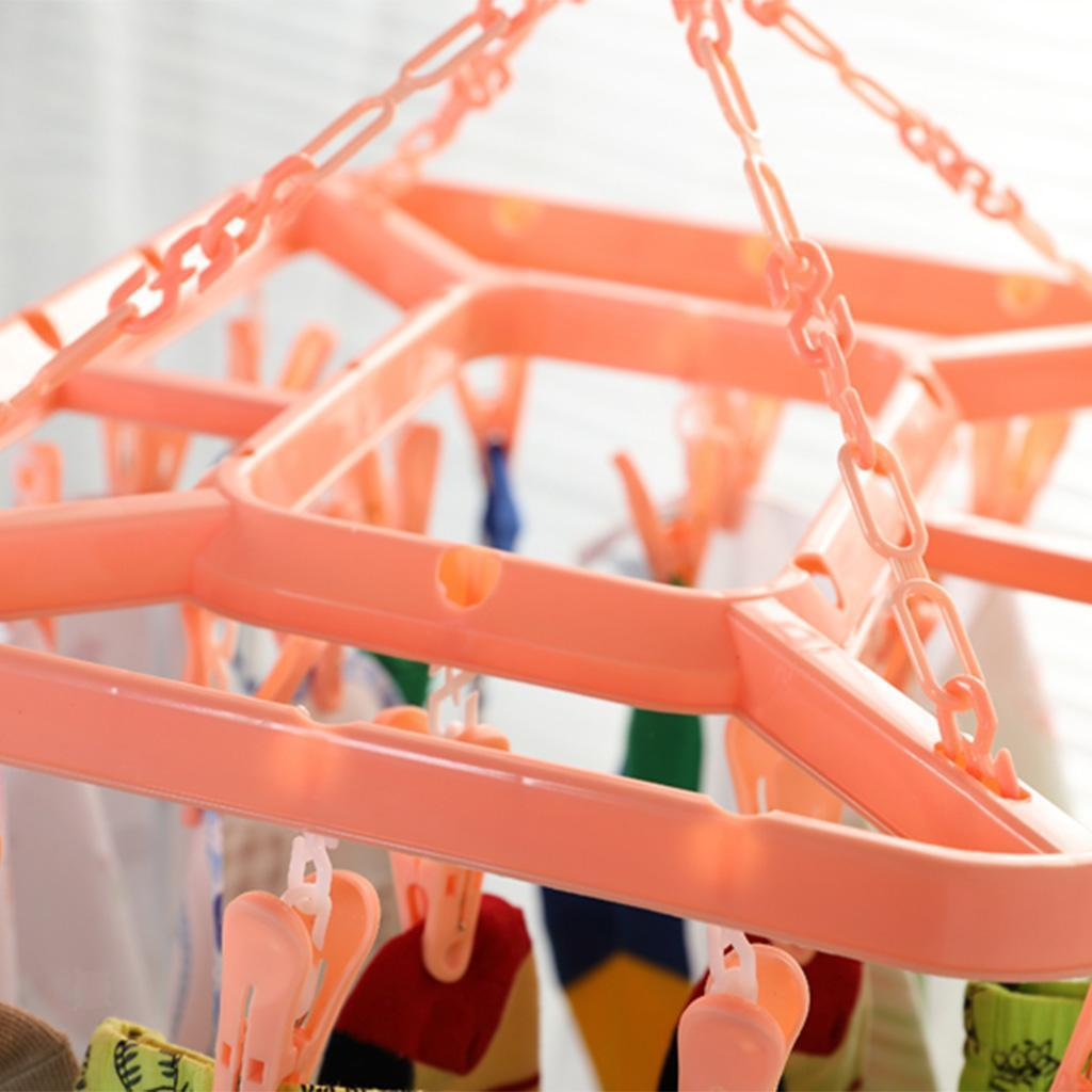 24 Clips Clothes Hanger Windproof Drying Rack Socks Underwear Home Laundry Airer