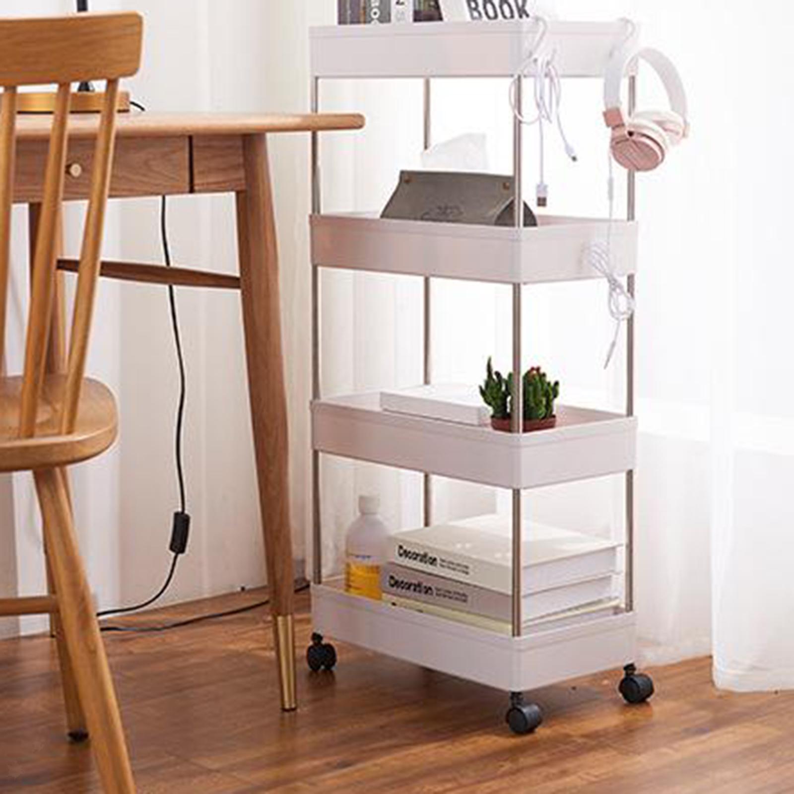 Scaffale-da-cucina-Scaffale-da-soggiorno-Mobili-da-soggiorno-Scaffale-con-ruote miniatura 4