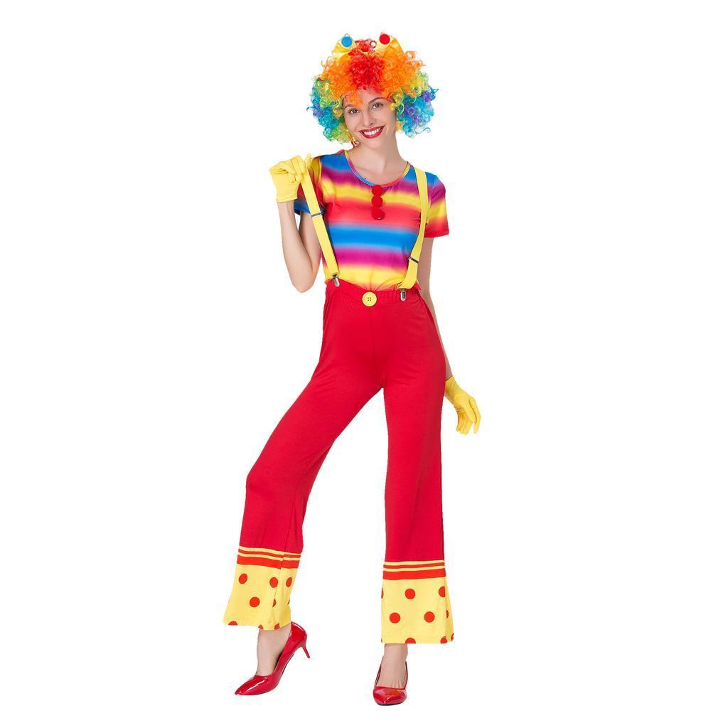 Lustige Frauen Clown Kostüm Dame Zirkus Joker Jester Fancy