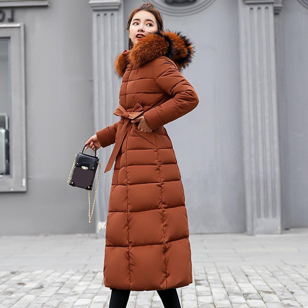 miniature 54 - Manteau long en duvet pour femmes avec col en fausse fourrure Veste matelassée