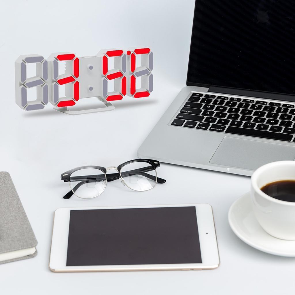 Moderno-Orologio-Da-Parete-A-LED-3D-Digitale-Snooze-USB-12-24-Ore miniatura 7