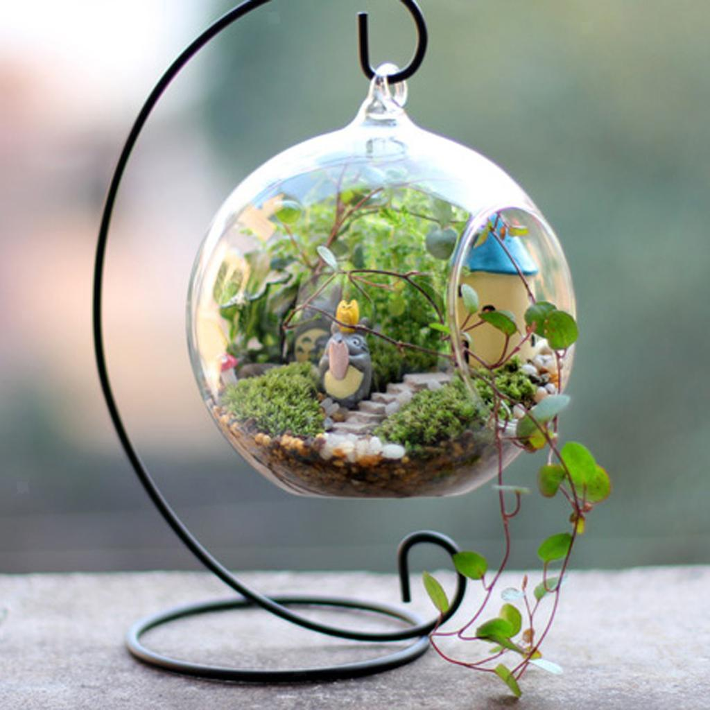 Various-Hanging-Glass-Ball-Tea-Light-Candle-Holder-Flowerpot-with-Iron-Stand thumbnail 44