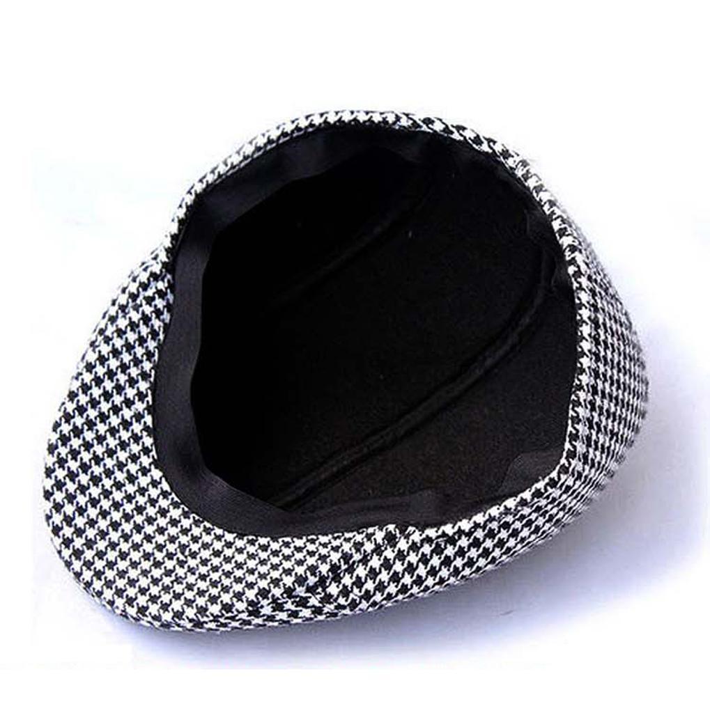miniature 10 - Chapeau Plat Unisexe Coton Hound Bouchon Dent Beret Gavroche - Café + Kaki