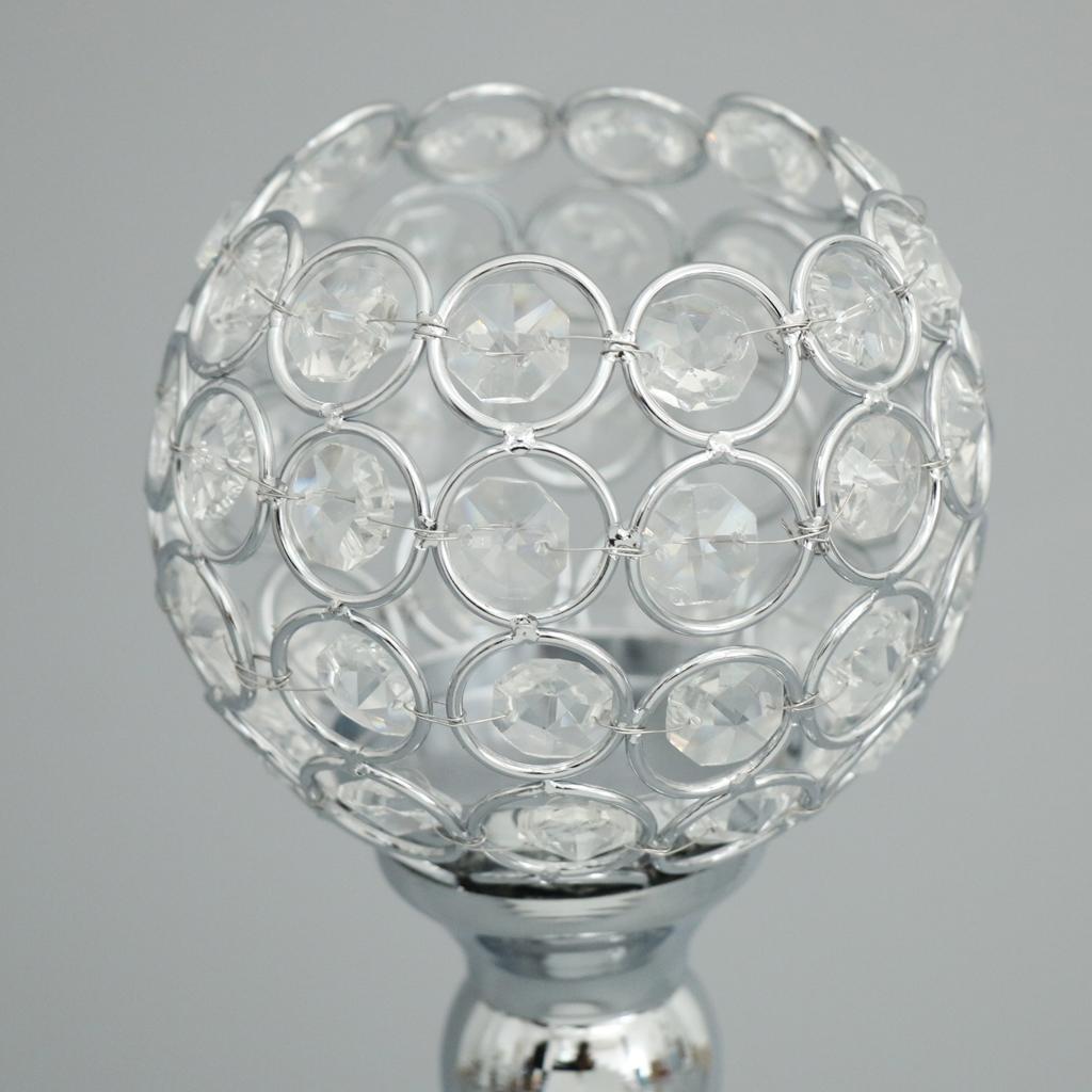 2Pcs 30 Cm Cristal Globe Pilier De Mariage Centre De Table Votive Bougeoir