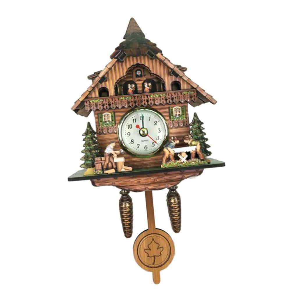 thumbnail 12 - Retro Vintage Style Wall Clock Hanging Handcraft Wooden Cuckoo Clock