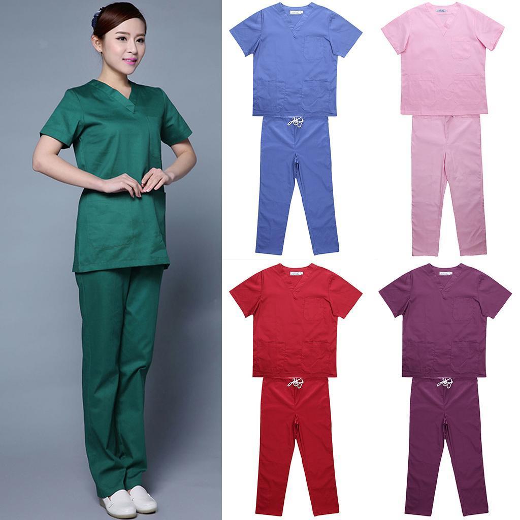 Men-Women-Scrub-Sets-Medical-Spa-Nursing-Clinic-Hospital-Uniform-Top-Pants miniature 8