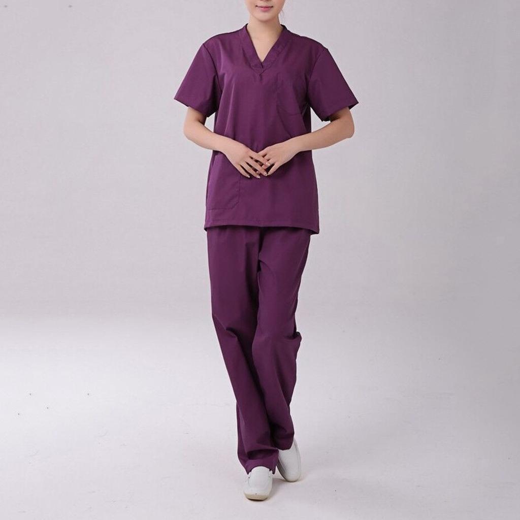Men-Women-Scrub-Sets-Medical-Spa-Nursing-Clinic-Hospital-Uniform-Top-Pants miniature 9