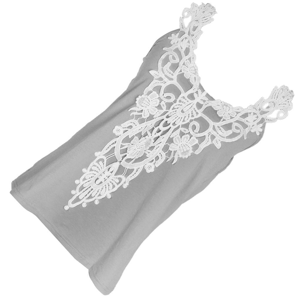 Fashion-Women-Lace-Vest-Top-Tank-Casual-Blouse-Top-Sleeveless-T-Shirt-Gray-S-5XL thumbnail 8