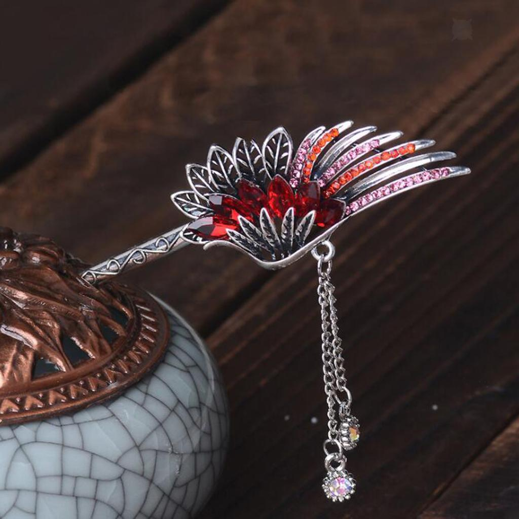 Diamante-Bead-Dangle-Hair-Stick-Chopstick-Feather-Hairpin-Chignon-Pin-Tassel thumbnail 9