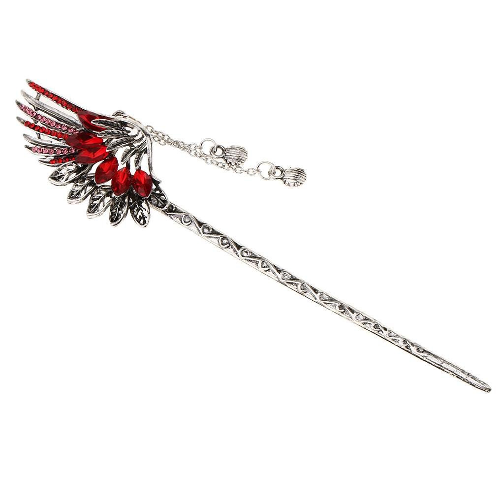 Diamante-Bead-Dangle-Hair-Stick-Chopstick-Feather-Hairpin-Chignon-Pin-Tassel thumbnail 6