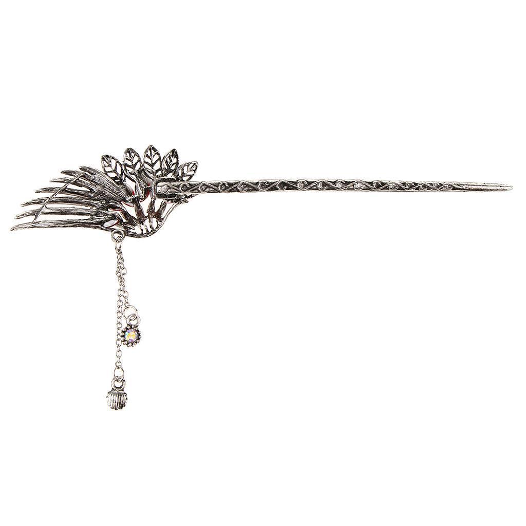 Diamante-Bead-Dangle-Hair-Stick-Chopstick-Feather-Hairpin-Chignon-Pin-Tassel thumbnail 11