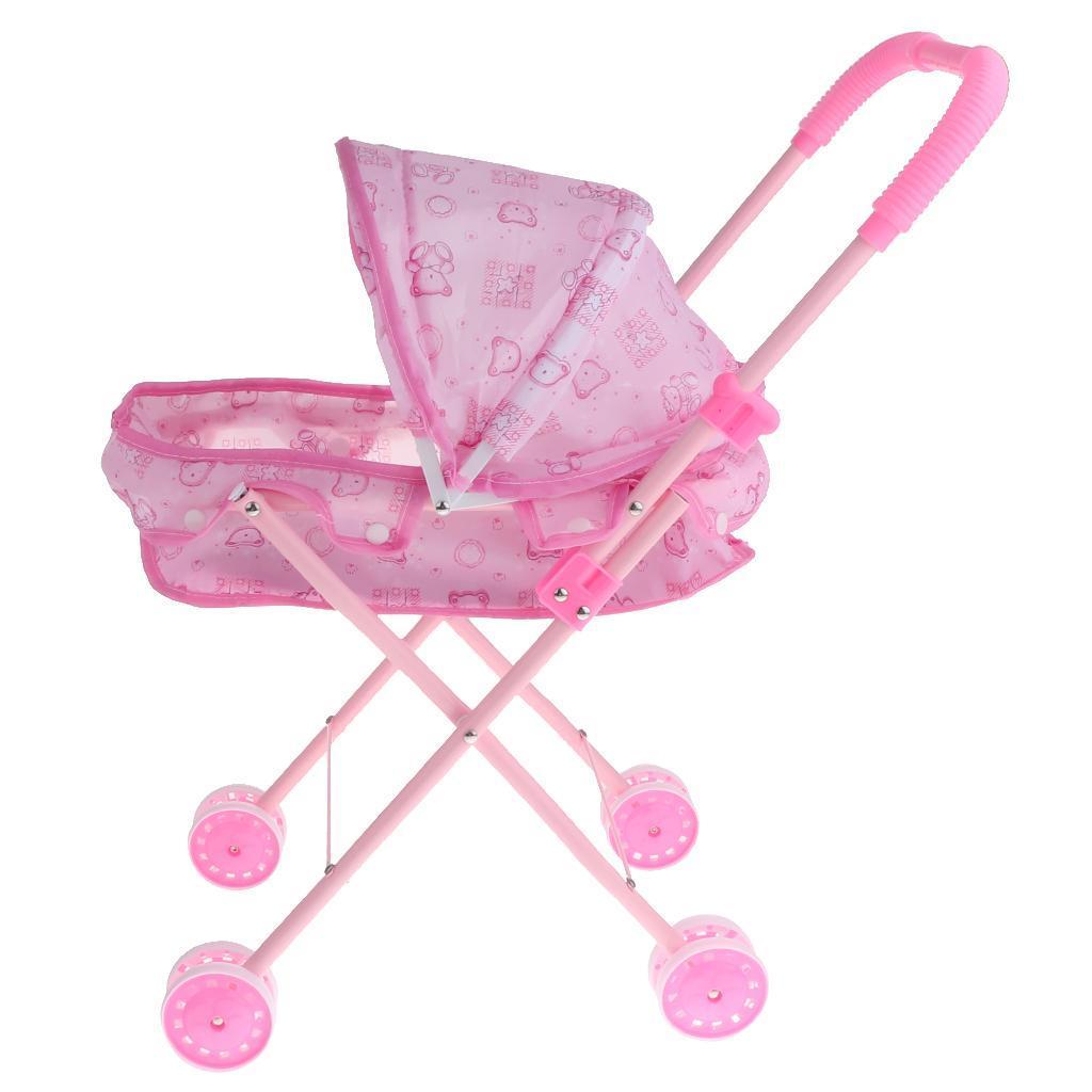 Foldable-Simulation-Pushchair-Stroller-Buggy-Pram-Pretend-Parent-Kids-Role-Play miniature 10