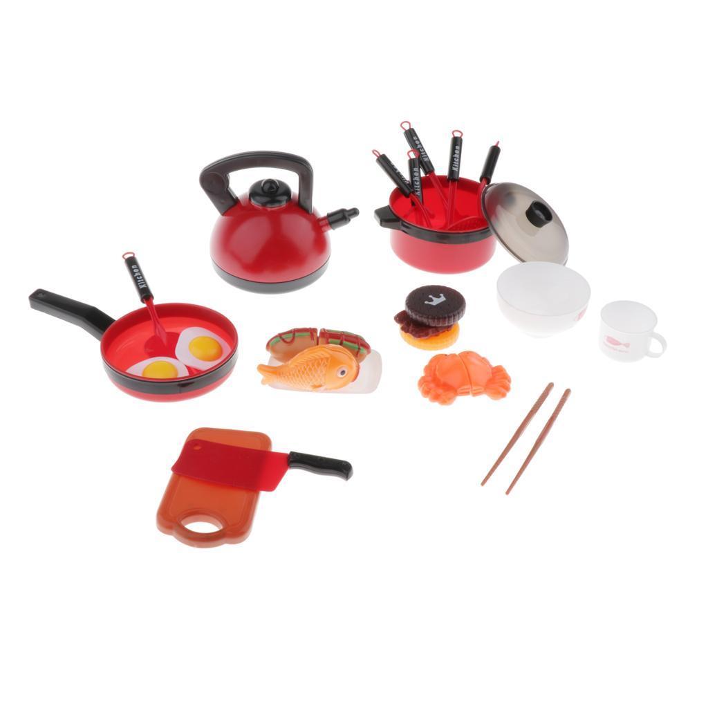Set-Da-Gioco-In-Plastica-Per-Alimenti-E-Utensili-Da-Cucina-Per-Bambini miniatura 10