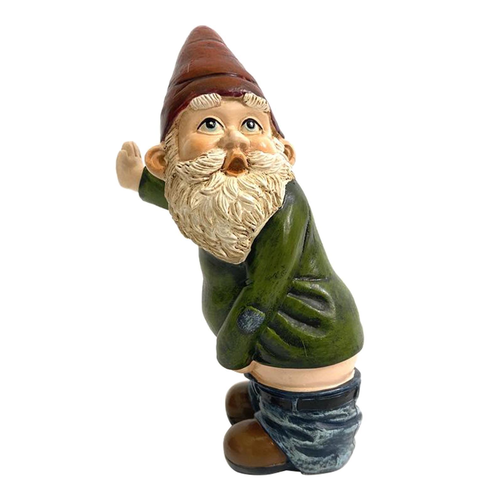 thumbnail 3 - Funny Resin Naughty Garden Gnome Statue Ornaments Villa Home Figurines Decor