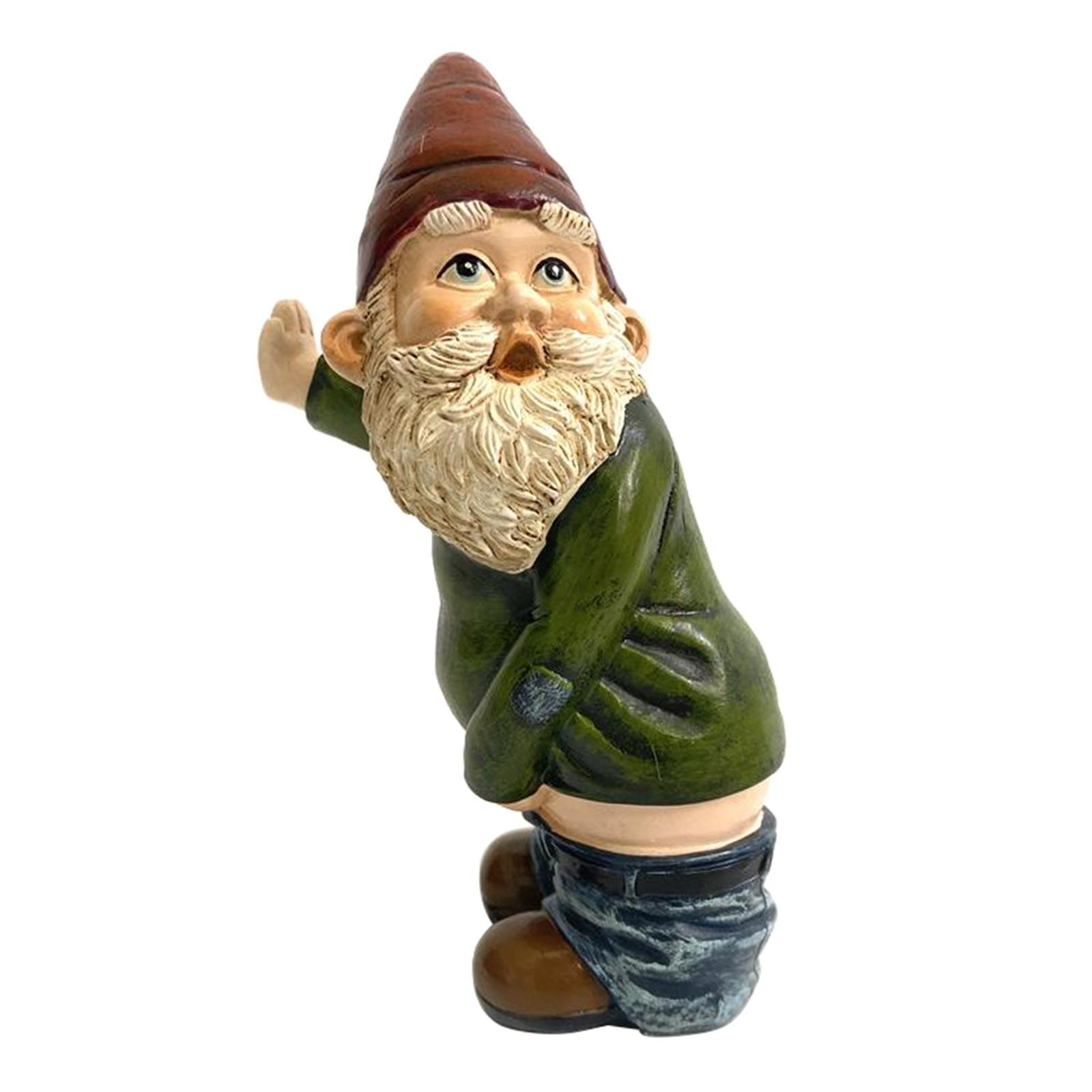 thumbnail 3 - Garden Gnome Statue Small Resin Lawn Gnome Scuplture Funny Indoor Outdoor Decor