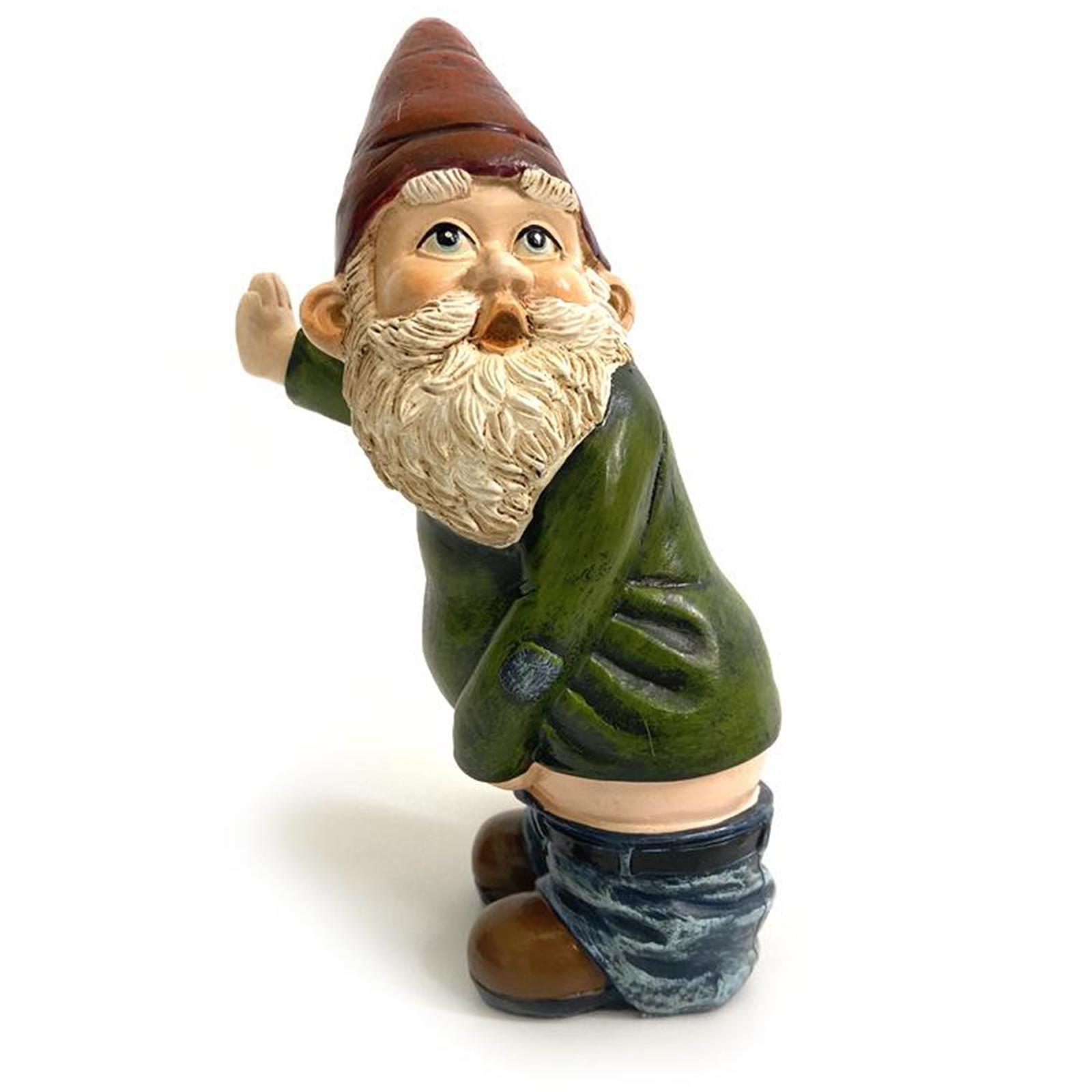 thumbnail 4 - Funny Resin Naughty Garden Gnome Statue Ornaments Villa Home Figurines Decor