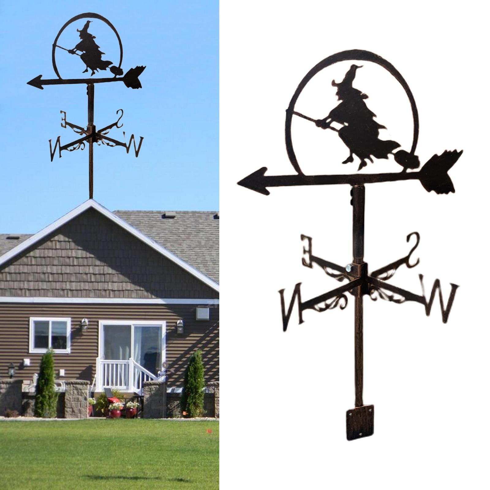 Black Stainless Steel Witch Weathervane Weather Vane Scene Stake Decorations
