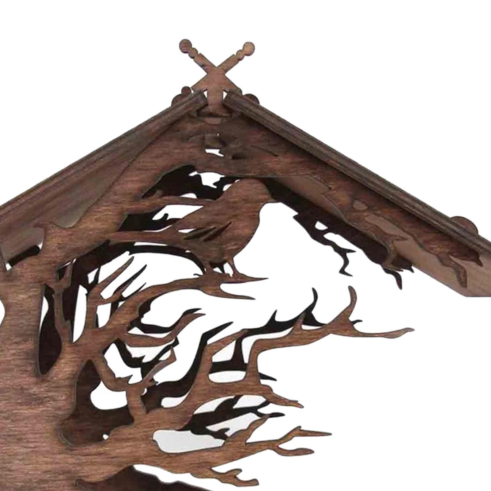 thumbnail 6 - Mangeoire à Oiseaux en bois Nichoir Décoration Extérieure Ornements