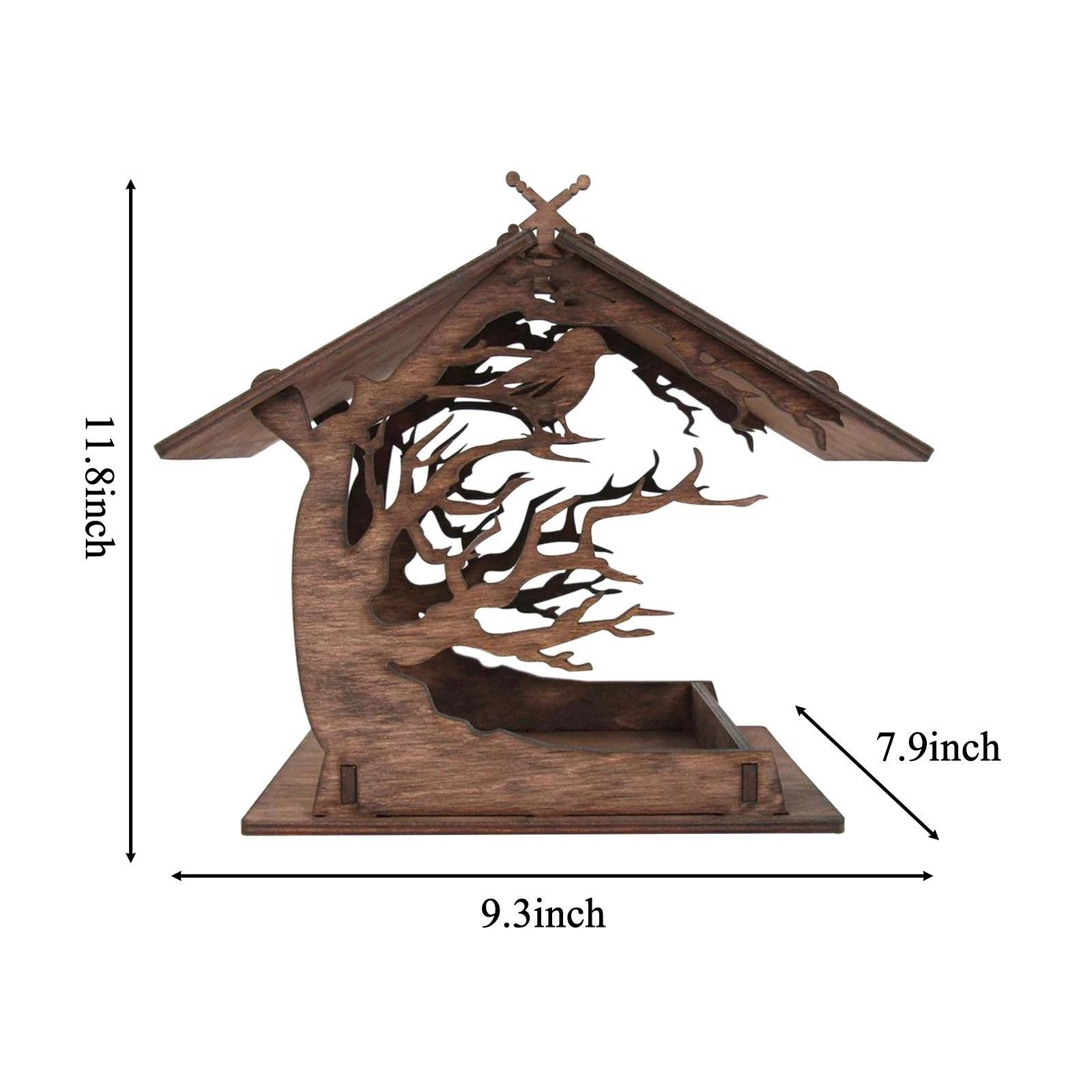 thumbnail 3 - Mangeoire à Oiseaux en bois Nichoir Décoration Extérieure Ornements