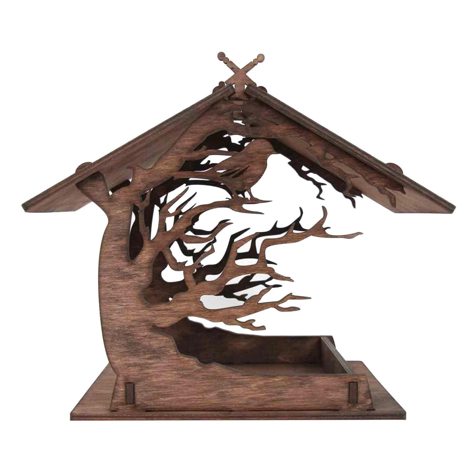 thumbnail 3 - Wooden Bird Feeder Balcony Ranch Decoration Ornaments Wildbird Essentials