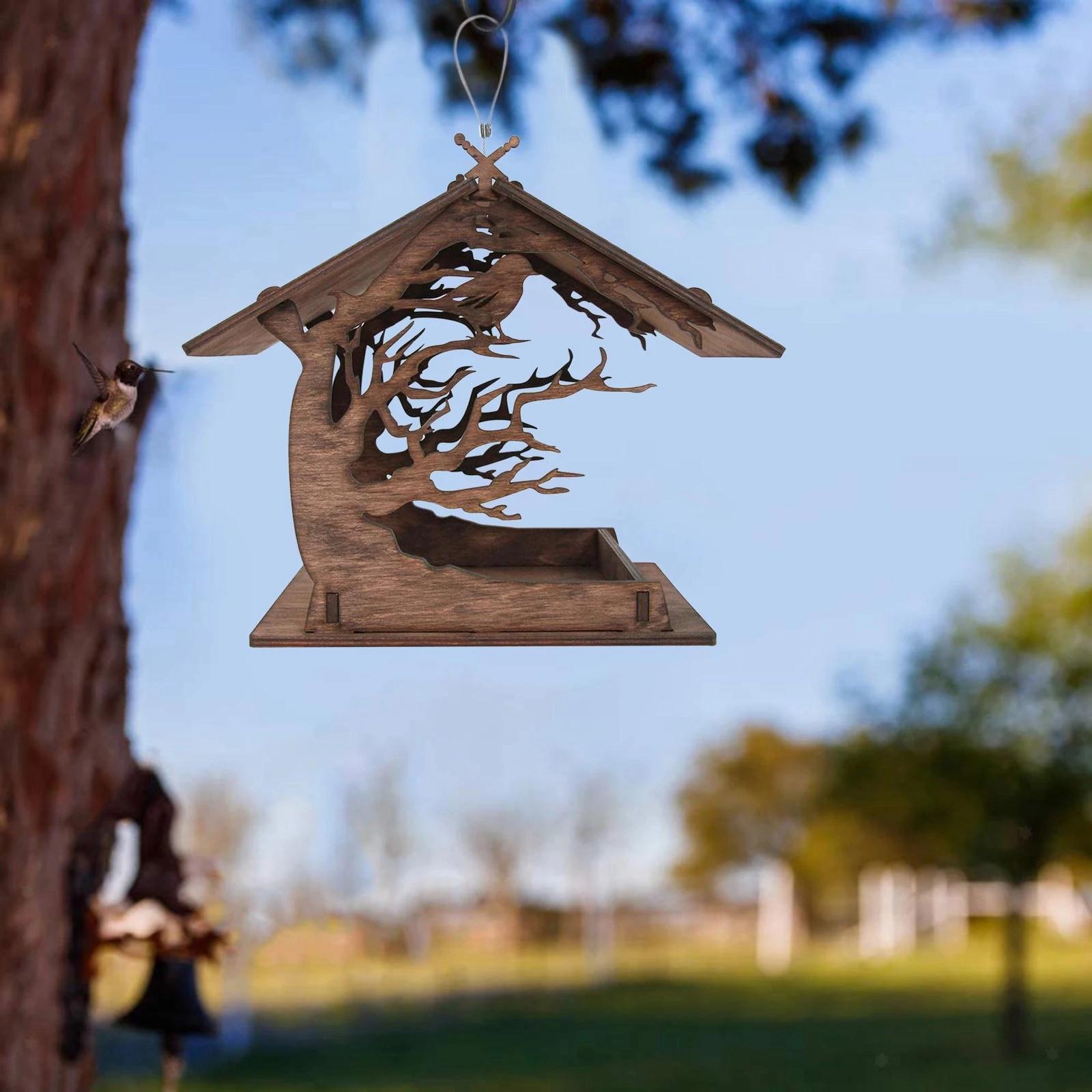 thumbnail 4 - Mangeoire à Oiseaux en bois Nichoir Décoration Extérieure Ornements