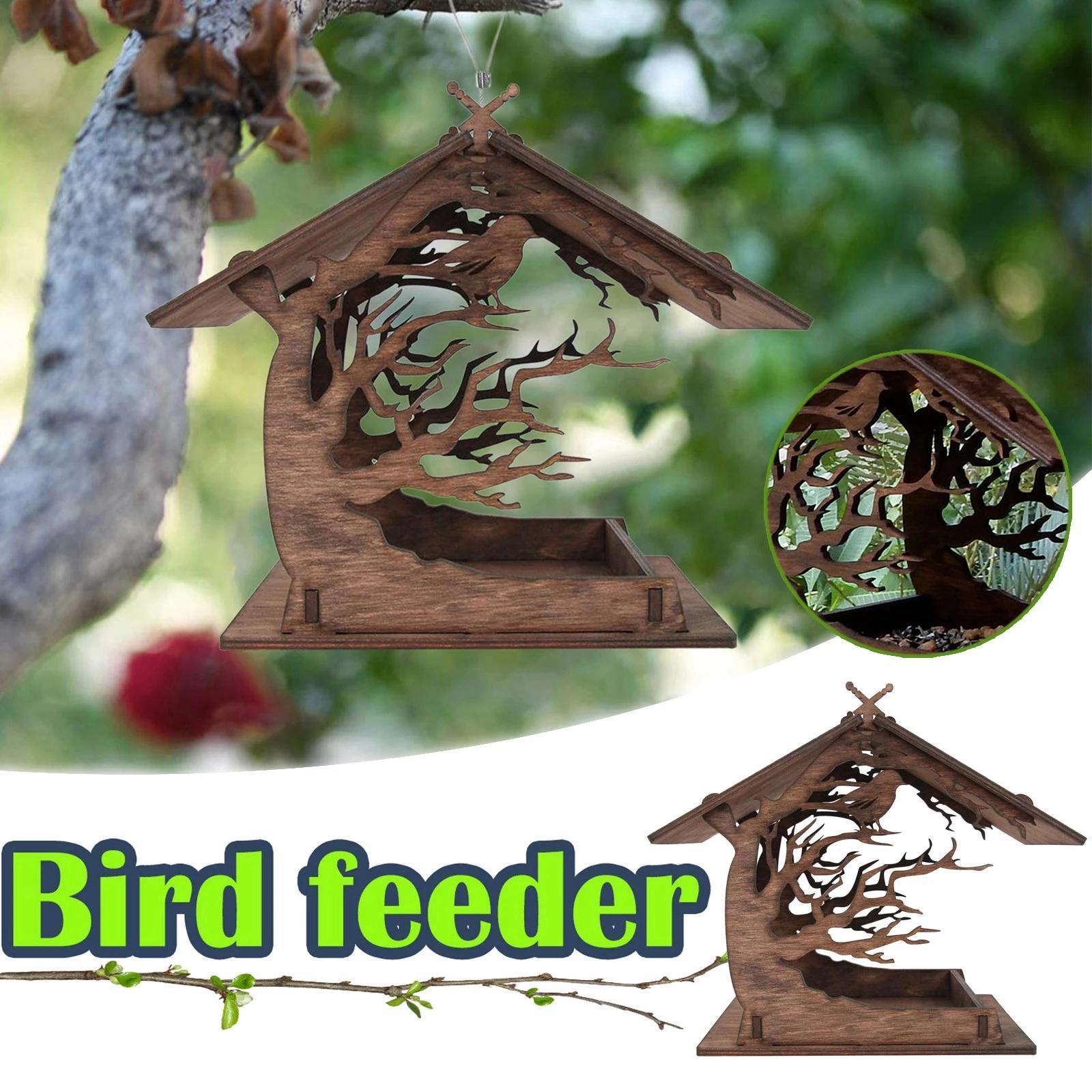 thumbnail 8 - Mangeoire à Oiseaux en bois Nichoir Décoration Extérieure Ornements