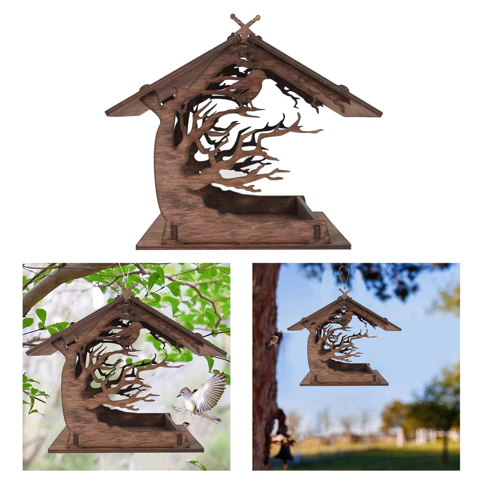 thumbnail 9 - Mangeoire à Oiseaux en bois Nichoir Décoration Extérieure Ornements