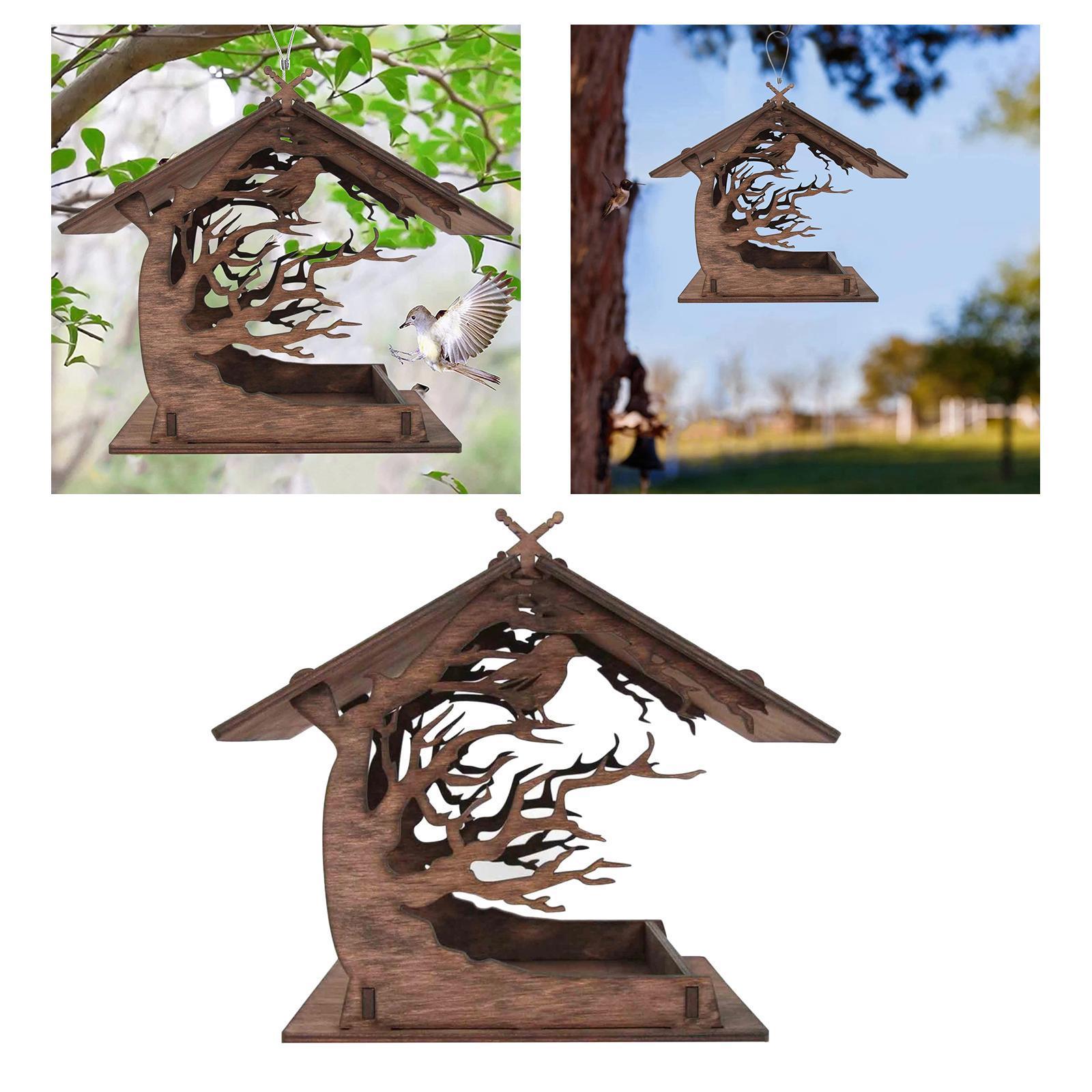 thumbnail 2 - Mangeoire à Oiseaux en bois Nichoir Décoration Extérieure Ornements