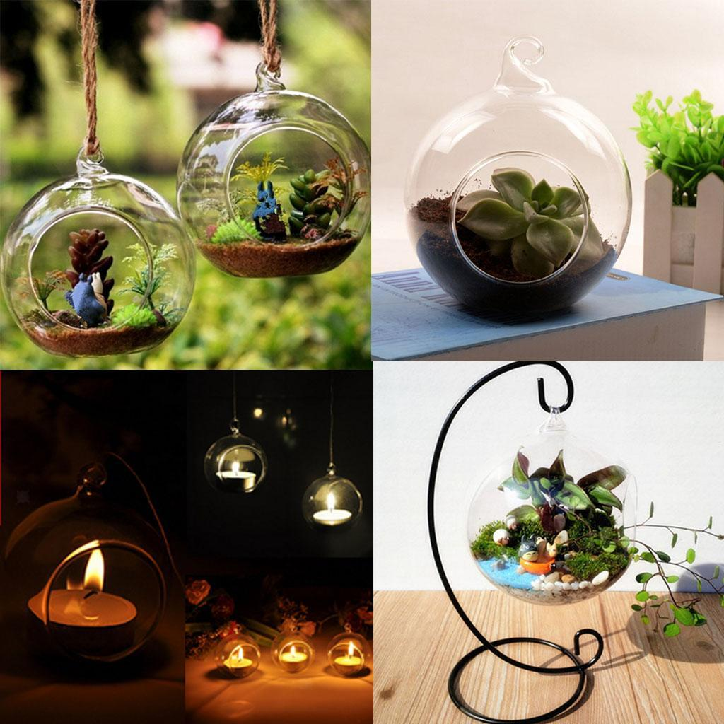 Various-Hanging-Glass-Ball-Tea-Light-Candle-Holder-Flowerpot-with-Iron-Stand thumbnail 13