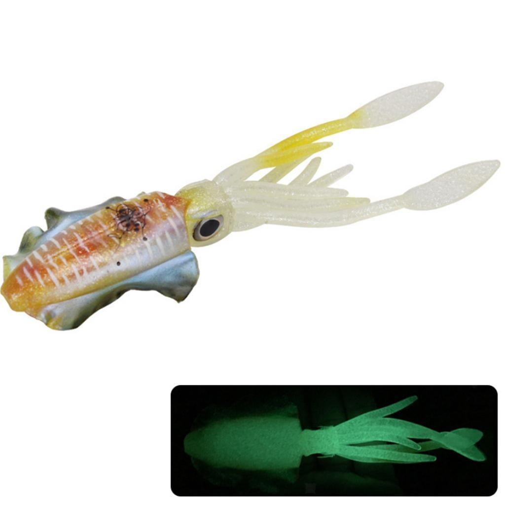 Glow Portable Squid Skirt Lure long tail  Saltwater Octopus Bait Fishing Tackle