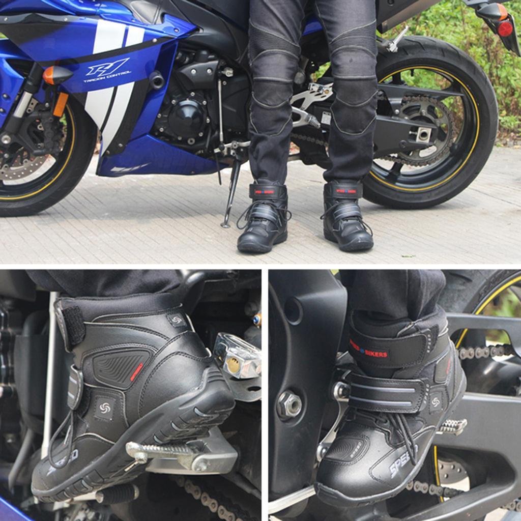 1-PAIA-CORTO-MOTO-Protezione-Caviglia-Stivali-Scarpe-Antiscivolo-Sports miniatura 7