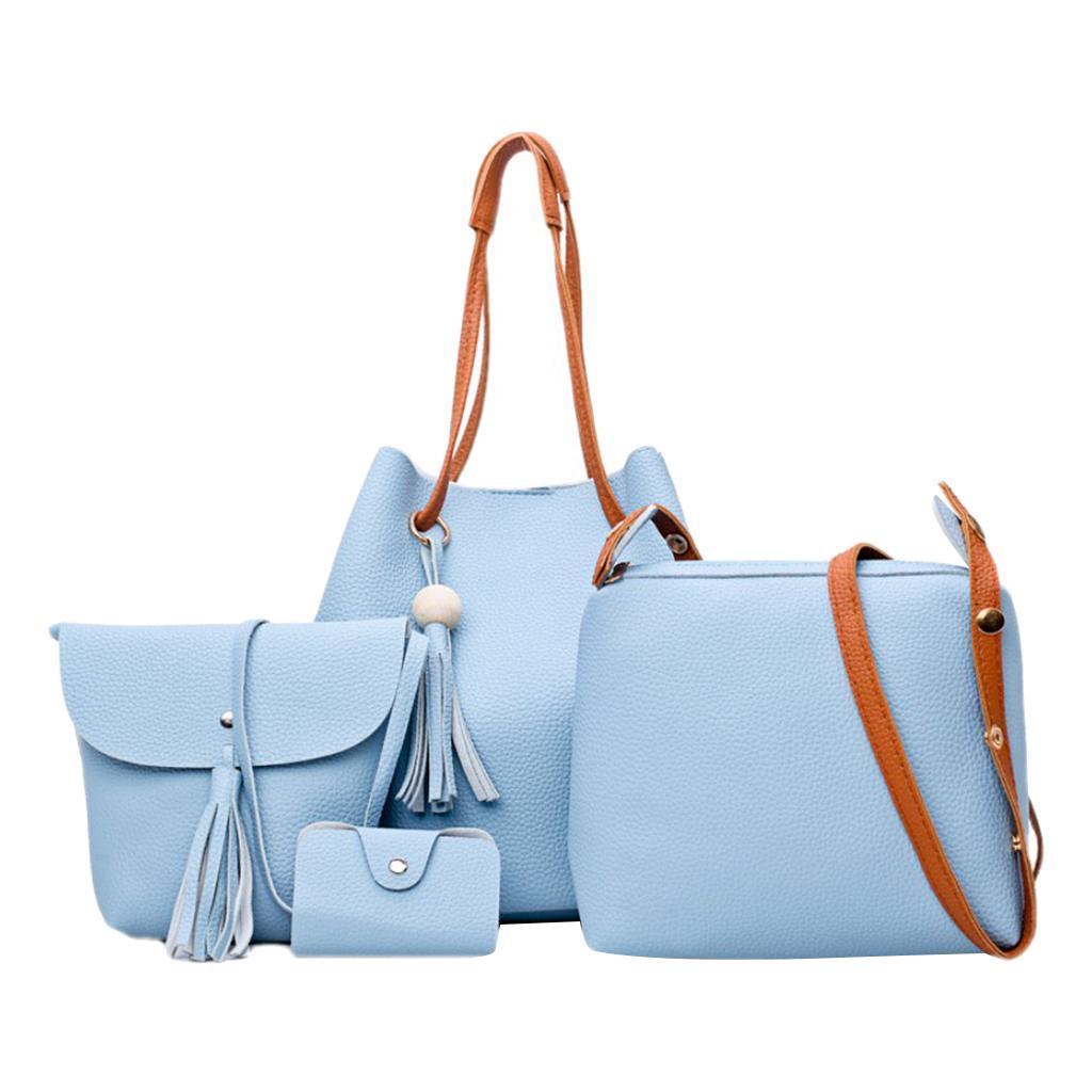 4-teiliges-Fashion-Damenhandtasche-Damen-Handtaschen-mit-Perlen-Anhaenger Indexbild 24