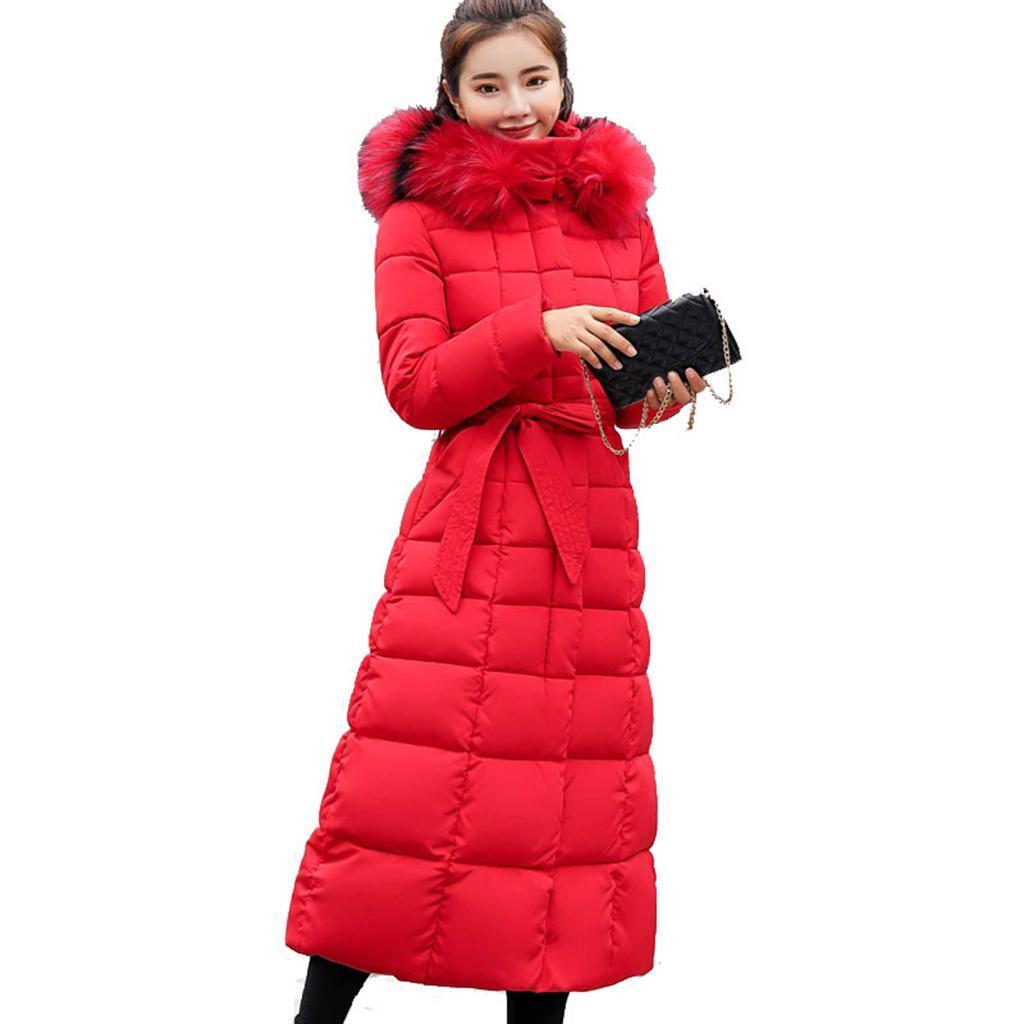 miniature 15 - Manteau long en duvet pour femmes avec col en fausse fourrure Veste matelassée