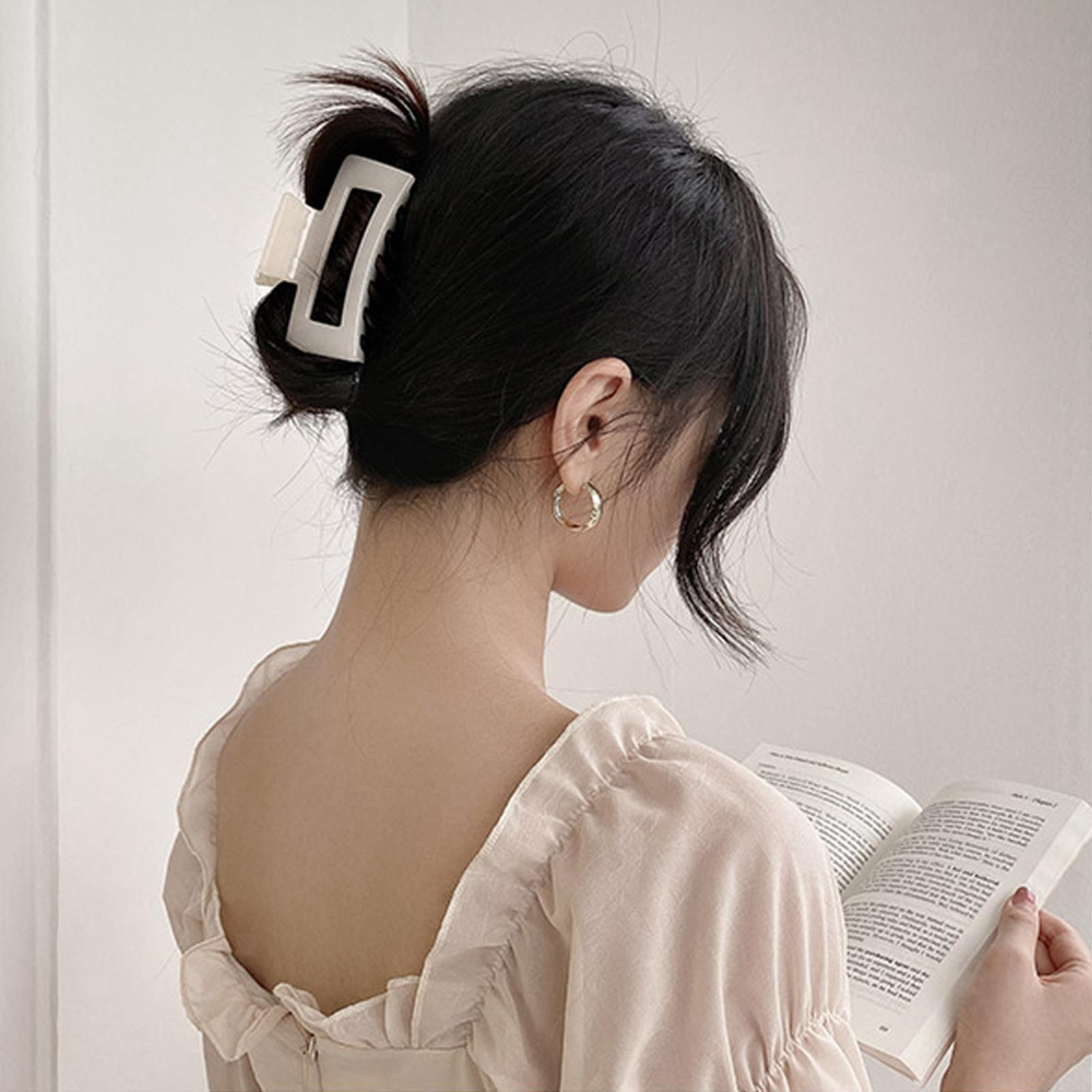thumbnail 3 - Large Hair Clip Claws Rectangle Hair Jaw Hairpins Grip for Women Thick Hair