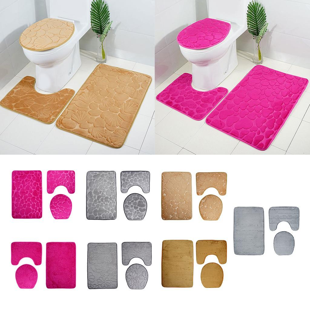 Badezimmerteppich-Set-Badematte-Badevorleger-Toilettensitzbezug Indexbild 3