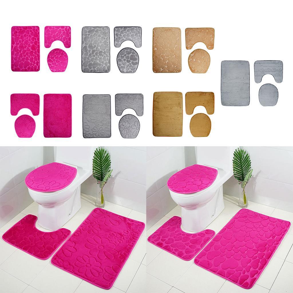 Badezimmerteppich-Set-Badematte-Badevorleger-Toilettensitzbezug Indexbild 4